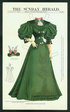 Ladies' Redingote Costume, October 13, 1895, Boston Sunday Herald Paperdoll
