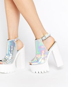 Daisy Street | Daisy Street Silver Holographic Mollie Shoes at ASOS