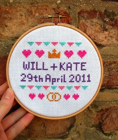 Yesterday, Natalie posted about Fiona Goble's Knit Your Own Royal Wedding. If you're looking for more royal wedding crafts, check out this fun cross-stitch