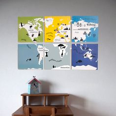 Kids World Map Printable Wall Art by fleetingthing on Etsy- set three only with brown in top right and grey in middle bottom. Kids World Map, World Map Art, World Map Printable, Printable Wall Art, Maps For Kids, Kids Room Art, Art Kids, Kids Rooms, Wall Maps