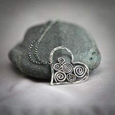 6dfa88d9d7d6 Swirly Sterling Silver Filigree Heart Necklace by Mayahelena