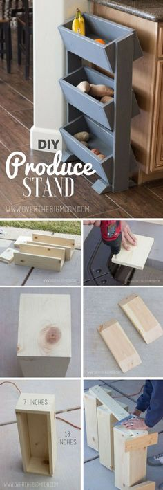 Check out this easy idea on how to build a #DIY #wooden produce stand for your kitchen #homedecor #budget #project @istandarddesign