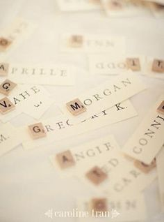 Scrabble name place cards Wedding Name, Wedding Places, Our Wedding, Dream Wedding, Diy Wedding Place Cards, Wedding Place Names, Trendy Wedding, Wedding Stuff, Wedding Flowers