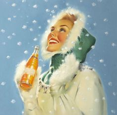 SALE Winter Time Holiday Christmas pinup RUNCI by VANGUARDGALLERY, $34.95