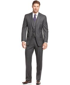 Shaquille O'Neal Collection Charcoal Sharkskin Suit Separates