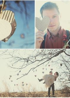 paper hearts hung with twine. Can we find a tree in Michigan that a 7 month old can sit under in Dead of winter?!
