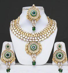 Bridal Kundan Jewelry Set With Stones & Meenakari