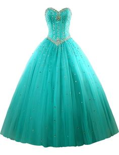 AIJIAYI Women's Sweetheart Ball Gown Beads Tulle Prom Quinceanera Dresses Turquoise US Size 18w. Fabric:Tulle with Beads and Crystals. Silhouette:Sweetheart, Ball Gown, Sleeveless, Floor Length. Custom made process (from the date we receive your payment and measurements) will take about 1-2 weeks.The the delivery time is about 10 days. the total time is about 25 days. Notice:Before order, Please refer to OUR Size Chart and measuring guide at the LEFT. Suitable for prom, ball, wedding...