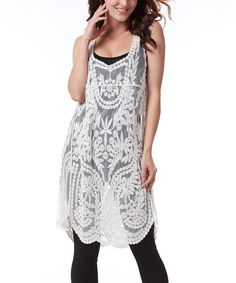 Another great find on #zulily! Simply Couture Beige Crochet Sleeveless Tunic by Simply Couture #zulilyfinds