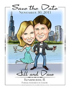 Fun Cute Caricature Save the Date Cards and Magnets by devhunt1