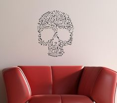 22x28 Music Skull Vinyl Decor Wall Lettering by willowcreeksigns