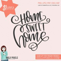 Our Dollar Spot is HOT! This Home Sweet Home SVG design features the phrase: Home Sweet Home. Comes with PNG files for clipart users and cut files for crafters! Yep, you get this design for your crafts for just $1! Adorn your clothes, design your planner pages, or create really cute craft projects, only for a dollar.  Why $1? Well, we give away a design set every Friday to our subscribers (go to http://hollypixels.com to sign up) but the link expires in 24 hours. So, if you miss out on our…