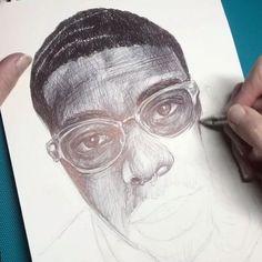 Crosshatching ballpoint pen ink drawing timelapse work in progress. via @curiousinkyme Ballpoint Pen Drawing, Ink Pen Drawings, Drawing Challenge, Pen Drawings