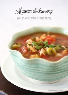 Mexican Chicken Soup - Paleo, gluten-free and friendly! An easy crock pot soup recipe that takes just 5 minutes of prep. This Mexican soup is packed with veggies and is healthy and delicious! Paleo Chicken Soup, Healthy Chicken Recipes, Paleo Recipes, Mexican Food Recipes, Cooking Recipes, Easy Recipes, Paleo Soup, Chicken Soups, Dinner Recipes