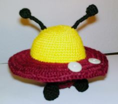 Crocheted UFO Spaceship out of acrylic wool.