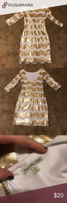 "Sequin dress 33.5"" shoulder to hem.  Worn one time.  Originally from Charlotte Russe. Size Medium white with gold sequins.  Perfect for New Years! Charlotte Russe Dresses Mini"