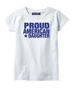 White & Navy 'Proud American Daughter' Tee - Toddler & Girls