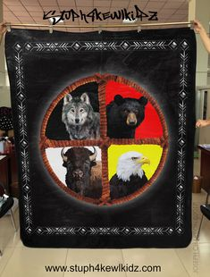 🏹TRIBEL 🛶 MEDICINE WHEEL 🦅- HEAVY SOFT- QUEEN SIZE BLANKET  79 X 94 #TheHuntsmanstuph4kewlkidz #NativeAmerican