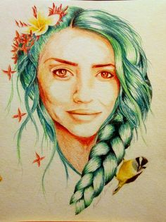 "'Ixora' (2013) 9x12"", coloured pencils - Self-portrait"