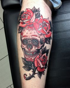 Colour traditional skull and rose tattoo done by Kyle at Adrenaline Vancity tattoos in Vancouver