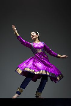 Anarkali-styled churidar made for Kathak, a type of Indian classical dance.