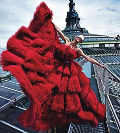 Aymeline Valade is dramatic in red! Alexander McQueen red no less. Photograph by super talented Mario Sorrenti, styled by Emmanuelle Alt and Marie Chaix for Paris Vogue, August 2012.