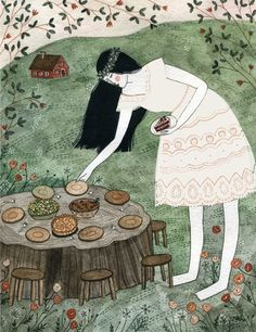 illustration by Yelena Bryksenkova for Fairytale Food by Lucie Cash Art And Illustration, Alphonse Mucha, Nanu Nana, Art Magique, Pen And Watercolor, Oeuvre D'art, Painting & Drawing, Fairy Tales, Snow White