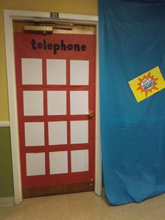 What a fun way to decorate a door! Have the door design resemble a phone booth. Use a large piece of red paper, some markers and while paper and glue and you have a decor design that will engage your Heroes! cokesburyvbs.com
