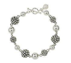 Michael Dawkins Sterling Silver Granulation Drop Bead 7-1/4 Bracelet