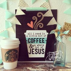 all i need is a little bit of coffee & a whole lot of Jesus 8x10 print by The Adopt Shoppe. #coffeeandJesus #TheAdoptShoppe