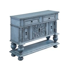 Three Door Two Drawer Sideboard in Mabry Mill Burnished Blue - Coast to Coast beautiful storage solution, this console has incredible detail. The focal acanthus element is balanced by intricately-carved ornamental column side supports and four bold Bar Furniture, Furniture Deals, Painted Furniture, Furniture Storage, Furniture Makeover, Refurbished Furniture, Furniture Outlet, Online Furniture, Selling Furniture