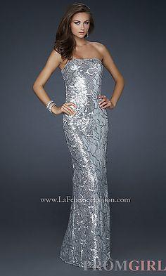 Strapless Sequin Embellished Dress at PromGirl.com
