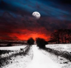 moon over the snowy road
