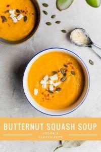 Vegan, gluten free butternut squash soup #vegan #pumpkinrecipes milk, #pumpkin, #easyfallrecipes