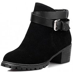 Women's Retro Round Toe Ankle High Belt Buckle Block Heel Comfy Boots ** See this great product. (This is an affiliate link) #AnkleBootie