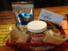 North Carolina Foodie gift basket at M.I. (NC white chocolate pecans, NC peanuts, and Chapel Hill toffee)