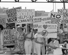 Students picket to save Los Angeles Mission College, June 27, 1986. In 1986, Governor Deukmejian reduced the state education budget, which forced Los Angeles to cut back education spending. The city contemplated closing at least one of the campuses in the Los Angeles City College District, which was met with protests by students and community members. Robert and Betty Franklin Collection. San Fernando Valley History Digital Library.