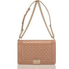 Chanel Dark Beige Iridescent Calfskin New Medium Boy Bag