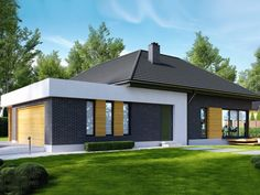 Find home projects from professionals for ideas & inspiration. Projekt domu HomeKONCEPT 27 by HomeKONCEPT Village House Design, House Front Design, Modern House Design, Layouts Casa, House Layouts, House Roof, Facade House, Modern Bungalow Exterior, Building Foundation