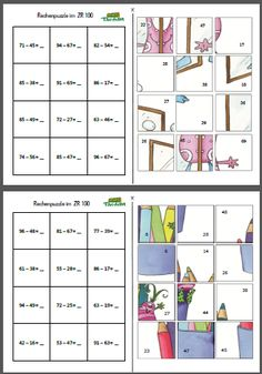 Discover thousands of images about Mompitziges Rechenpuzzle – Malreihe - - 2nd Grade Worksheets, School Worksheets, Montessori Math, Homeschool Math, Math Resources, Math Activities, Math Board Games, Learning Games For Kids, Primary Maths