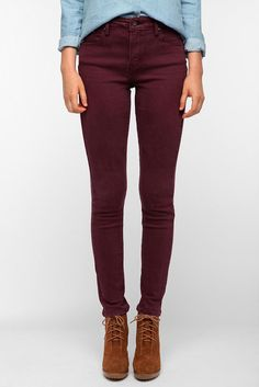 The Oxblood Jean - Levi's Demi Curve High-Rise Skinny Jean in Wine. Oxblood is all the rage this season.