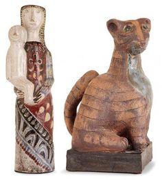 """Jean DERVAL (1925-2010) - Suite de deux sculptures en terre chamottée : - -[...], mis en vente lors de la vente """"Céramiques des Années 50"""" à Tajan   Auction.fr"""