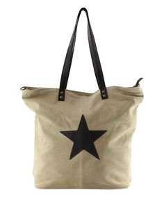 Another great find on #zulily! Taupe Star-Accent Leather Tote by Olivia Mei #zulilyfinds