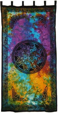 Quad Aries Spiral Tie-Dye Tapestry  bed spread 60x90 twin XL Dorm Wall Hanging
