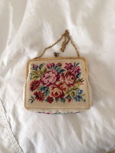 Handmade, vintage petit point bag from Austria.