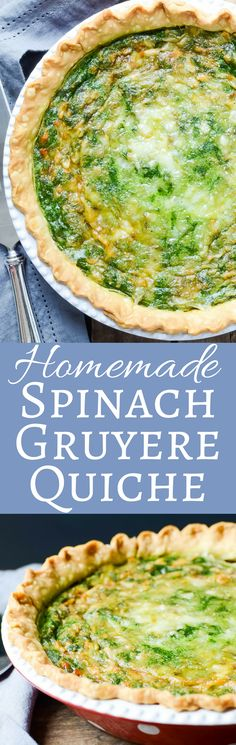 Homemade quiche from scratch is easy. This spinach gruyere quiche recipe is rich, delicious and perfect for brunch!