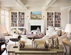 Mesmerizing Design Interior Of Casual Cottage Barn Style Living Room Ideas With Fireplace Among Wooden Bookshelves And Chic Scandinavian Furniture Set Arrangement With Oak Living Room Furniture And Furniture Living Room, Inspiring French Living Room Furniture For New Home Remodeling Ideas: Furniture, Interior, Living Room