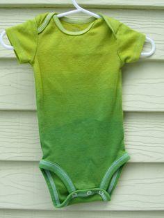 Gender Neutral Green Ombre Onesie bodysuit Hand by buggyandbubba