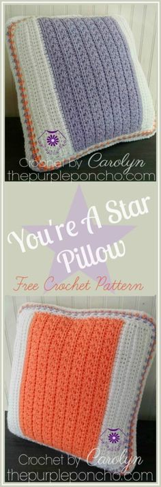 You're A Star Pillow – Free Crochet Pattern on The Purple Poncho