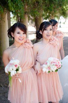 Blush pink Bridesmaid's dresses #wedding #fashion